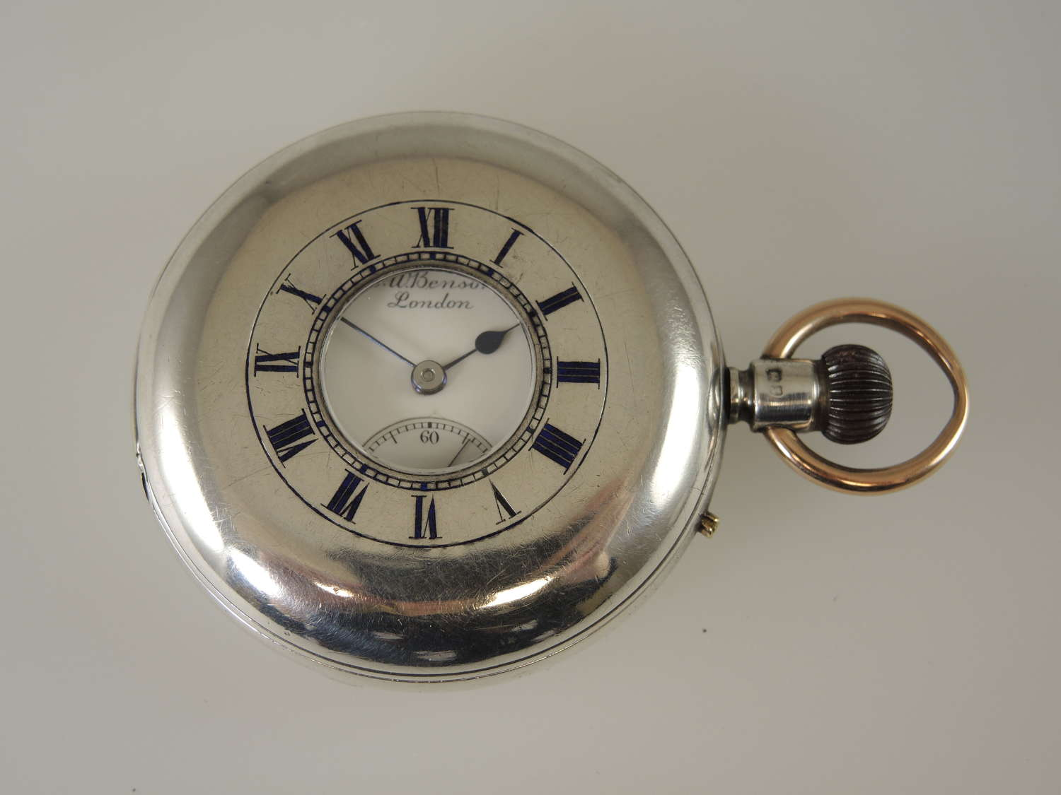 English Silver J W Benson KEYLESS LUDGATE Half Hunter 1899