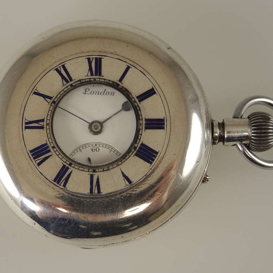 English Silver J W Benson THE FIELD Half Hunter pocket watch c1891