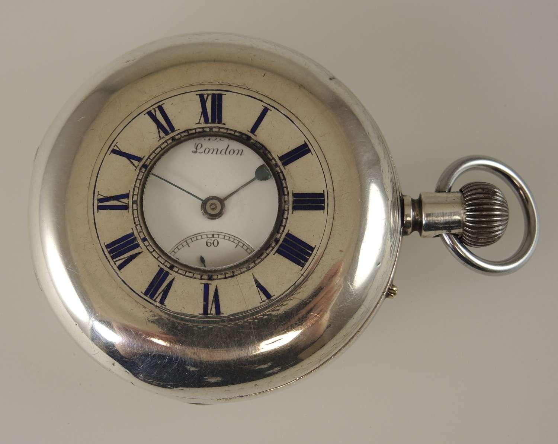 English Silver J W Benson THE FIELD Half Hunter pocket watch c1891