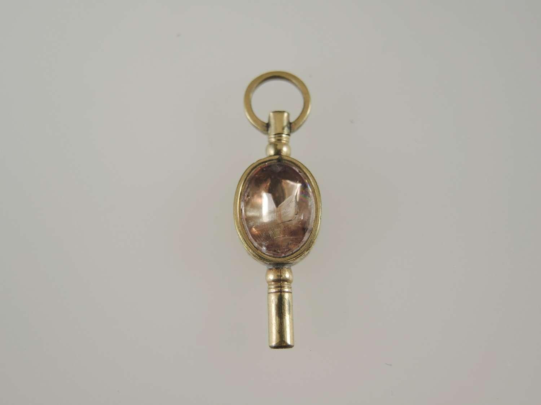 Beautiful Stone and glass set pocket watch key c1880