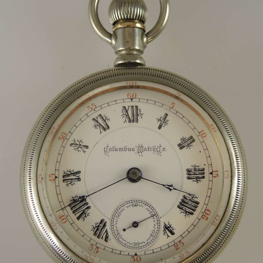 18s pocket watch by Columbus Watch with Rare TREE Dial Co 1893