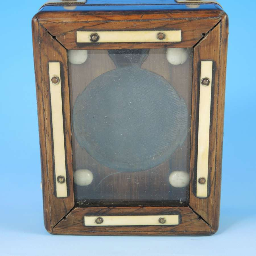 Unusual Wooden and Bone Strut pocket watch box c1890
