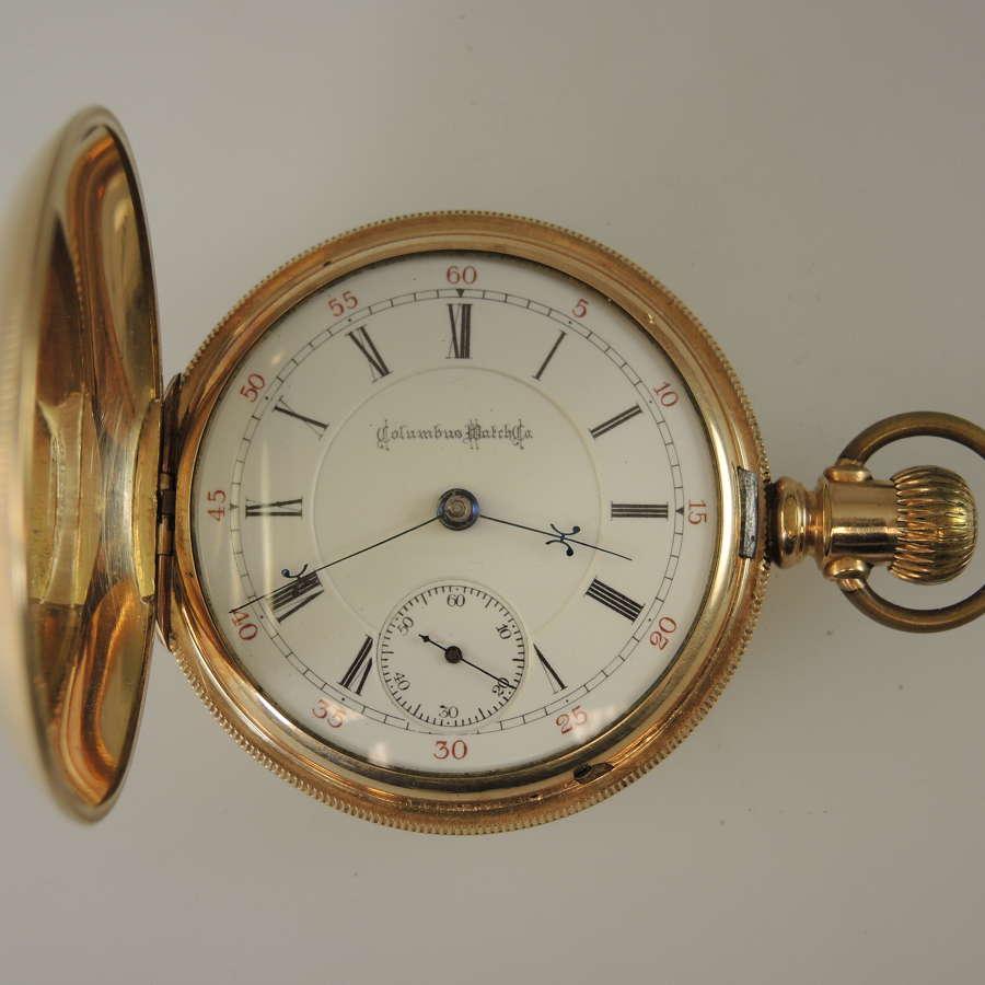 18s 17 Jewel Two Tone COLUMBUS hunter pocket watch c1890