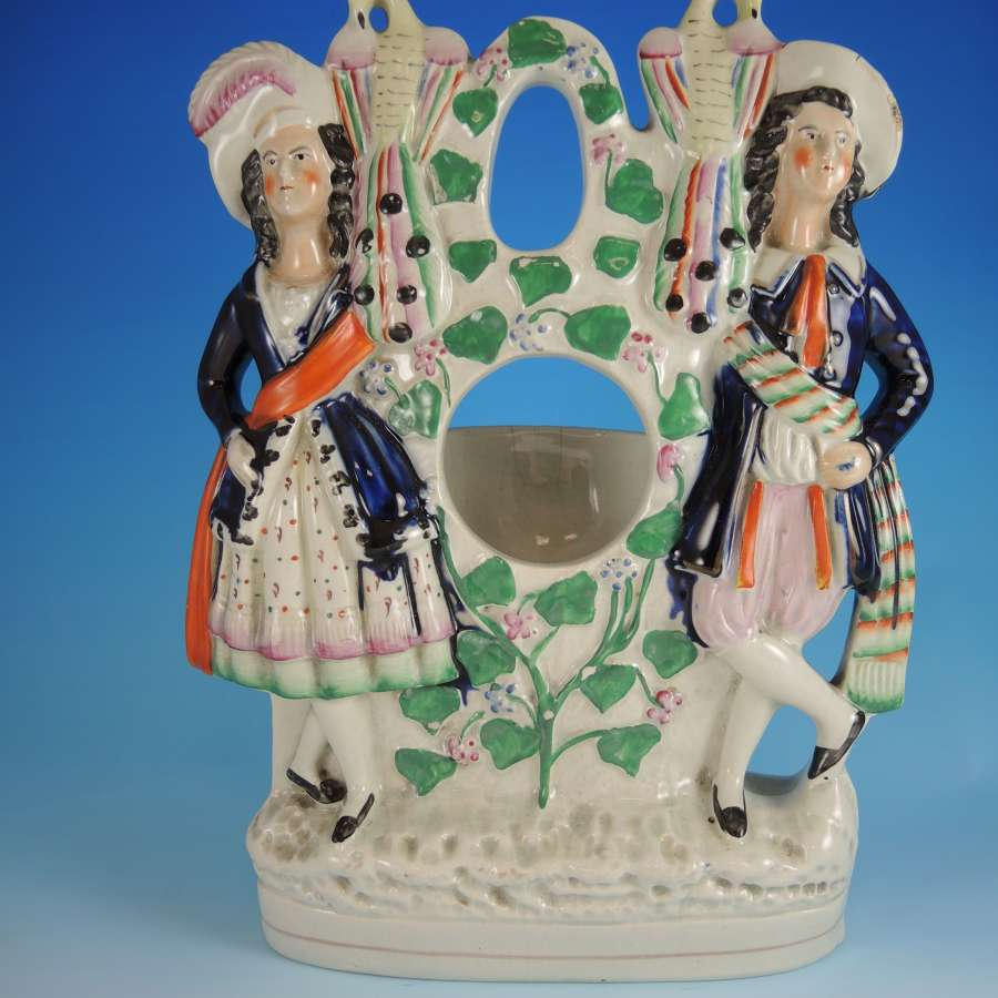 Large Staffordshire Flat Back Watch Stand HIGHLAND FLING c1880