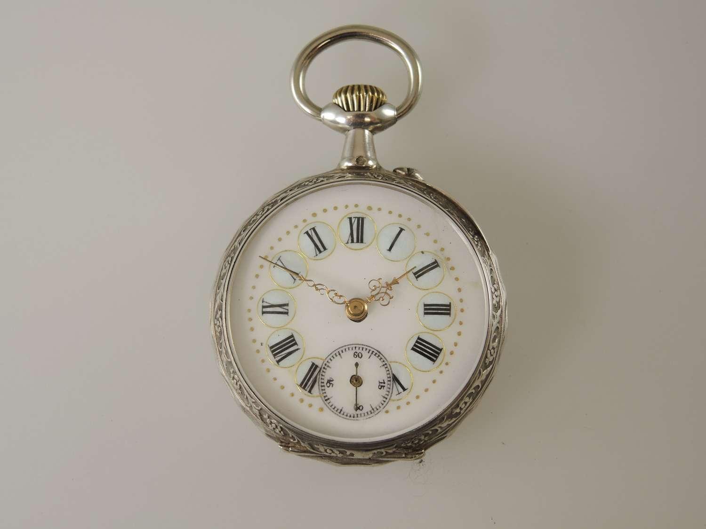 Beautiful Egg blue enamel Cartouche dial pocket watch 1880