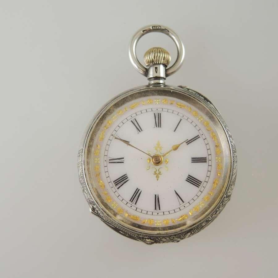 Pretty enamel dial silver cased Ladies Fob watch c1890