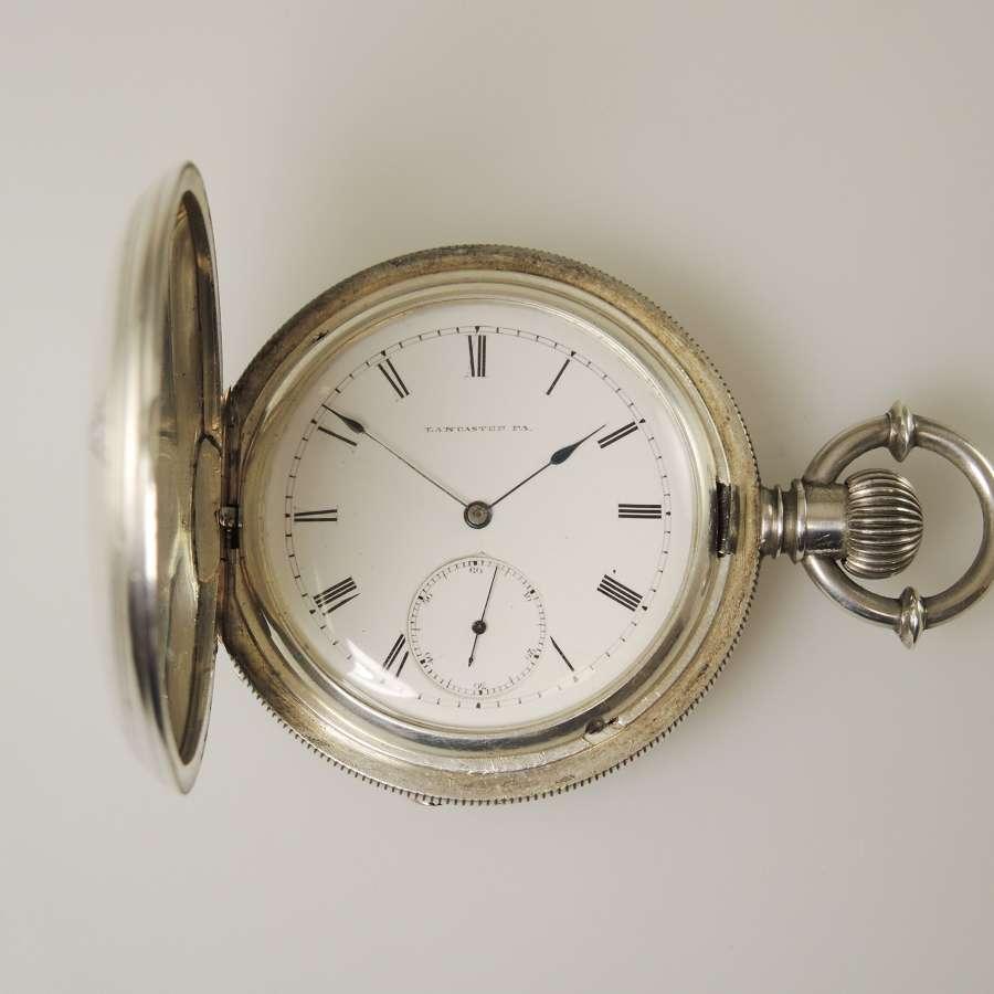 Massive 5 oz Silver Hunter pocket watch by Lancaster Pa  c1880