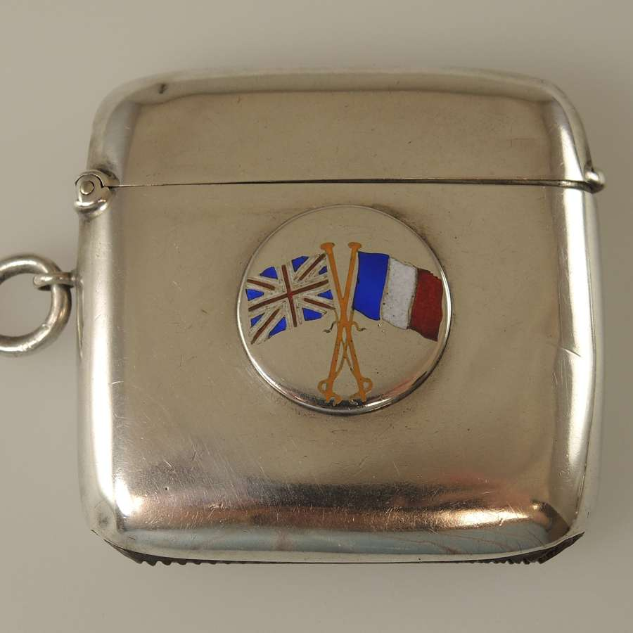 English silver and ENAMEL Allies Vesta case c1914