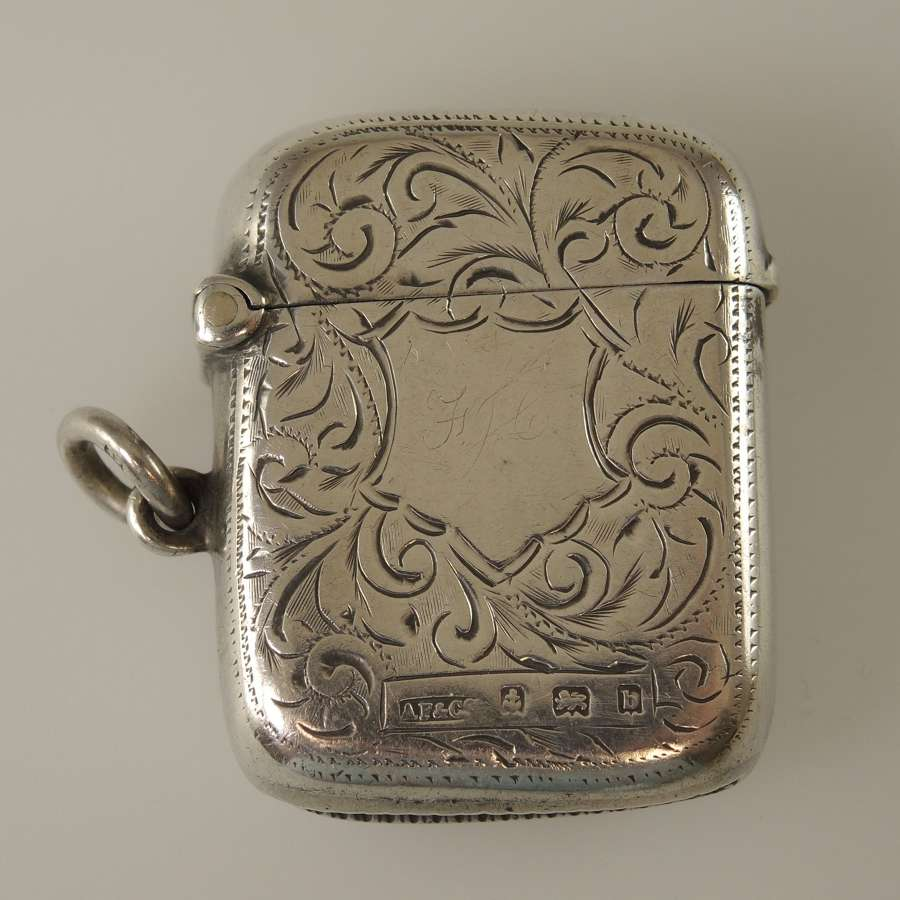 English silver Vesta case c1901