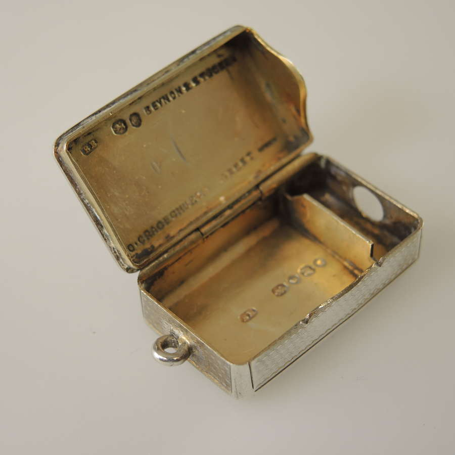 Rare English Silver Vesta and Cigar cutter c1855