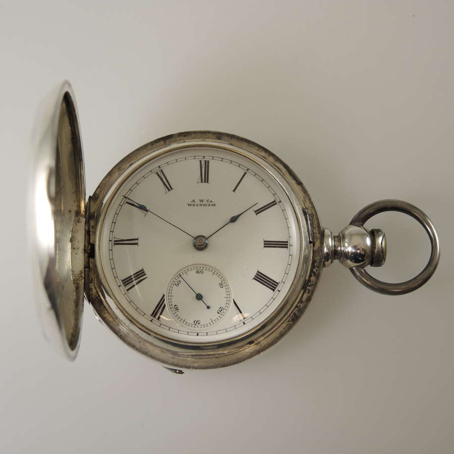 18 size Waltham hunter pocket watch with 3 oz coin silver case c1881