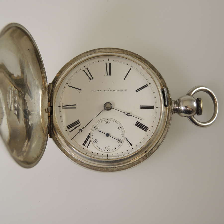18 size Elgin hunter pocket watch with 3 oz coin silver case c1874