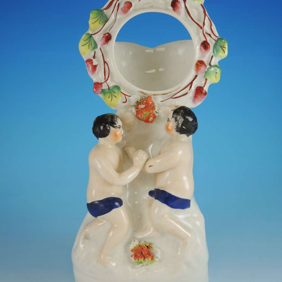 Rare Staffordshire flat back watch stand c1850