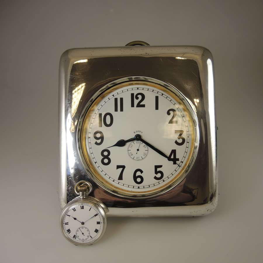 MASSIVE 137mm Wide 8 Day Pocket Watch with ORIG Silver Case Circa 1910