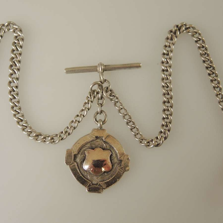 English Silver Double Watch chain with Fob c1913