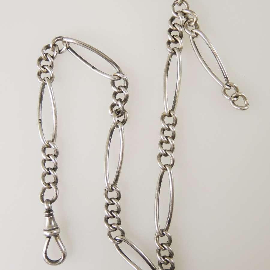 Unusual English silver watch chain c1922