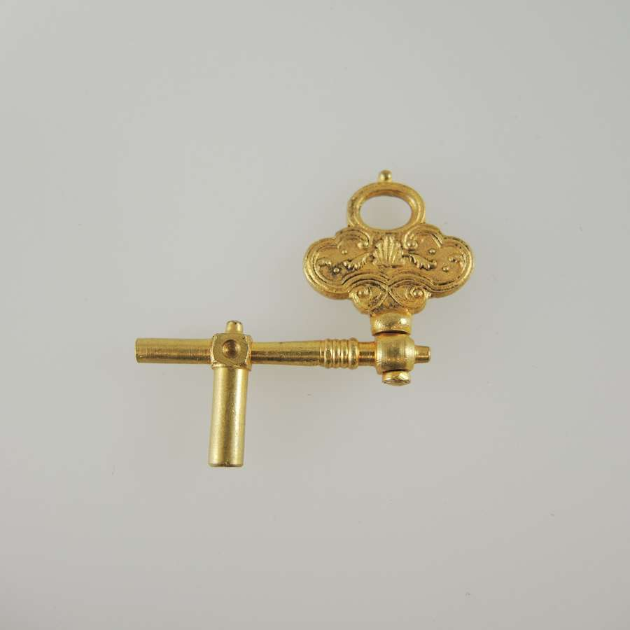 Unusual Pristine Gilt Double ended Crank Key c1770