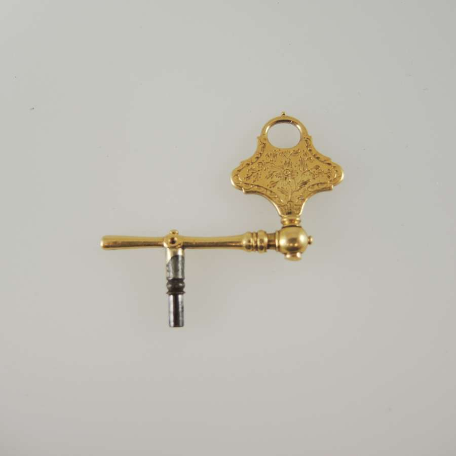 Solid 18K Gold Double ended Crank Key c1770