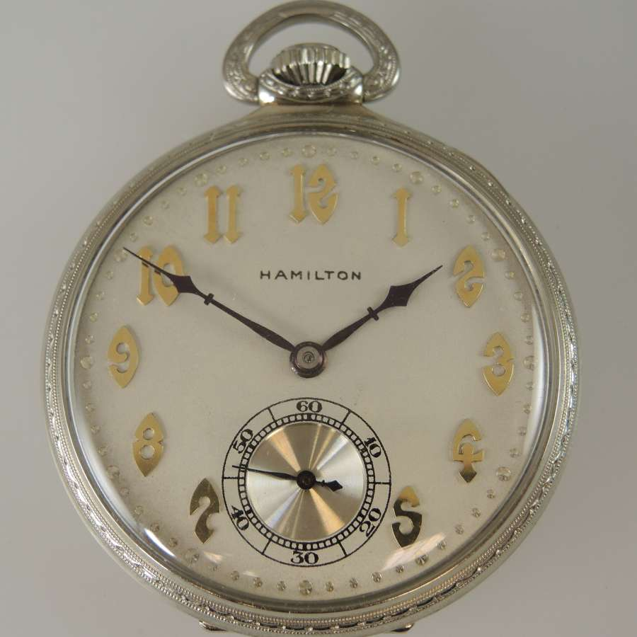 Pristine Solid 14K Gold 23J Hamilton pocket watch c1923