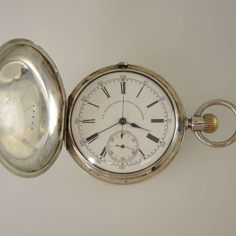 Silver full hunter pocket watch with CHRONOGRAPH c1885