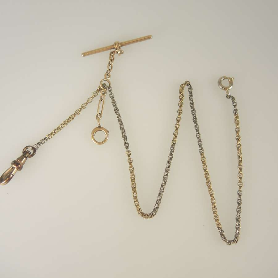 Unusual Two Colour gold filled watch chain c1910