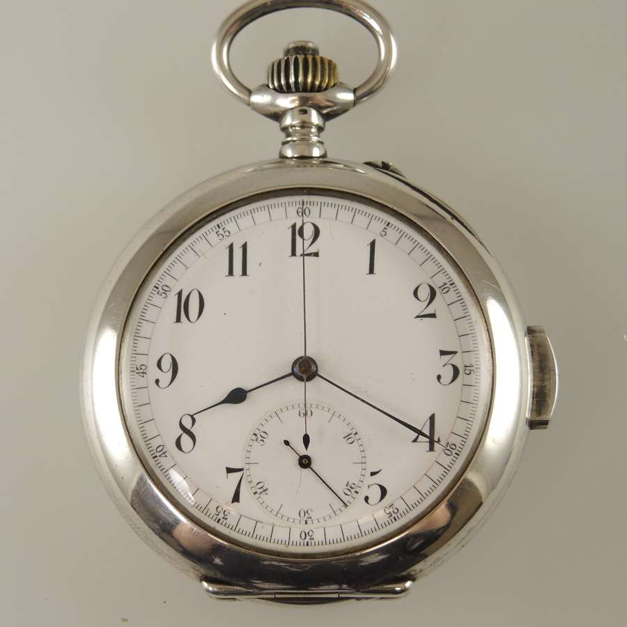 Rare silver Quarter REPEATER chronograph pocket watch c1890