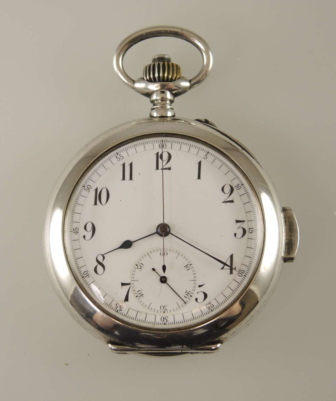 Rare silver Quarter REPEATER chronograph pocket watch c1890