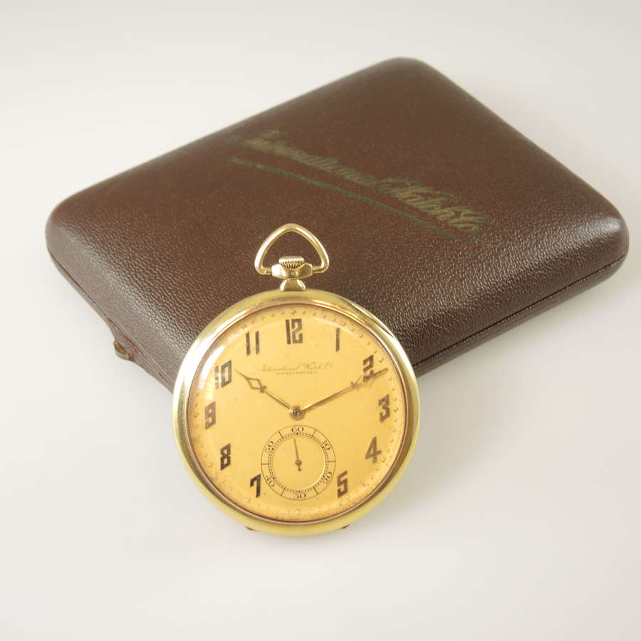 14K Gold IWC International Watch Co pocket watch. w/ Box c1923