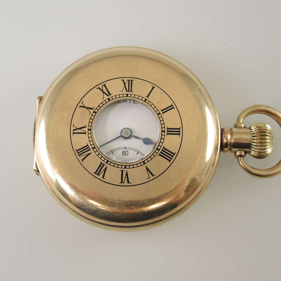 Gold plated half hunter pocket watch by Vertex c1930