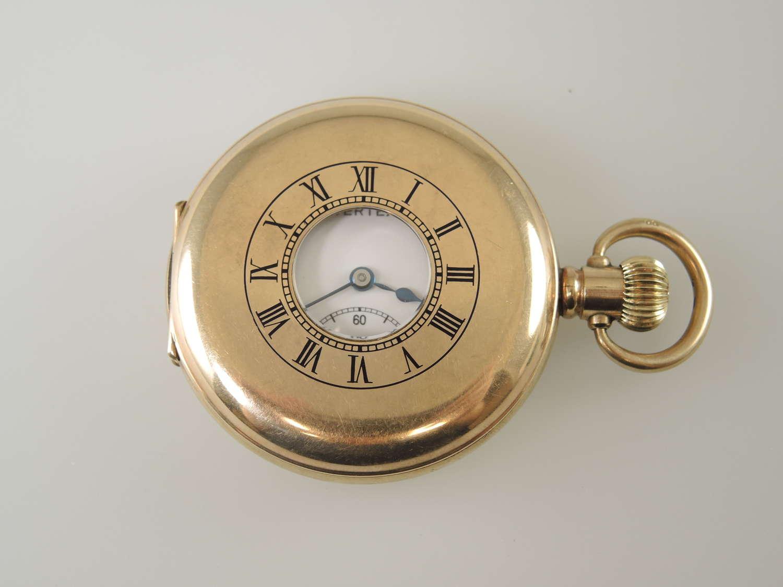 Gold plated half hunter pocket watch by Vertex c1930