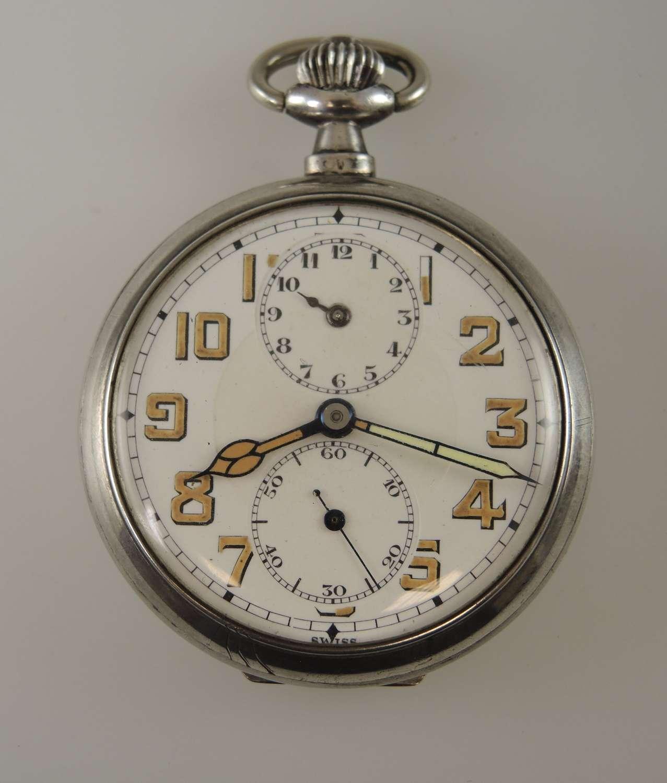 Rare Silver Alarm pocket watch c1910