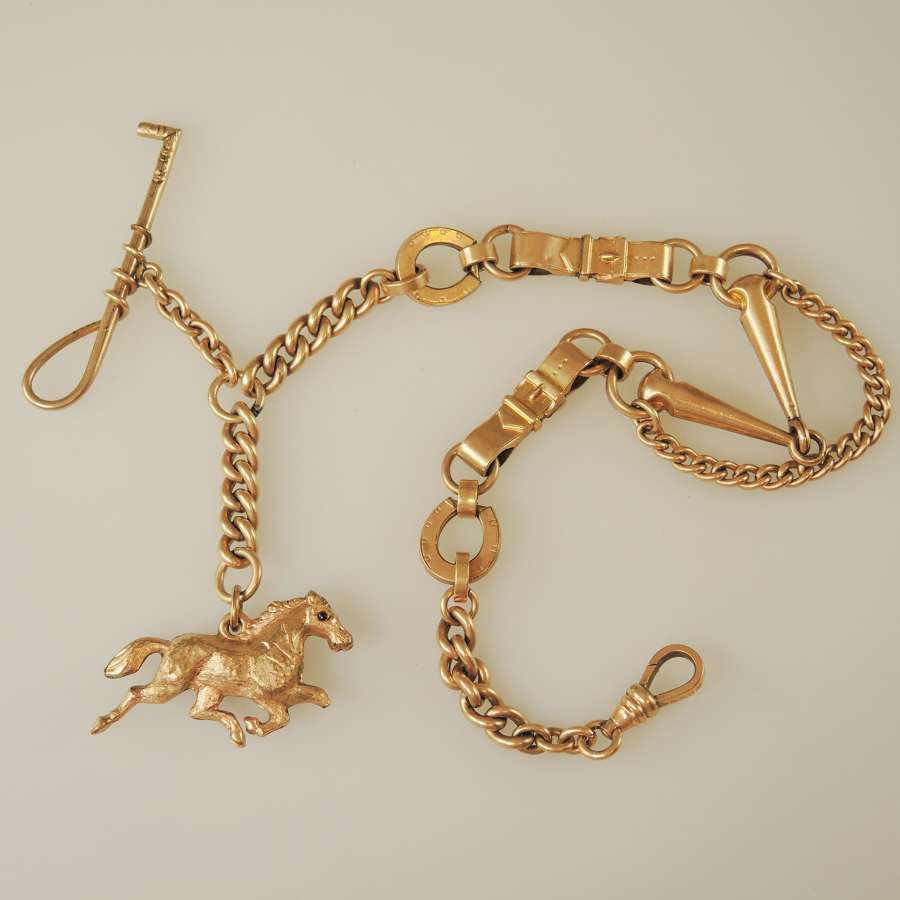 Impressive Gilt EQUESTRIAN Themed pocket watch chain c1890
