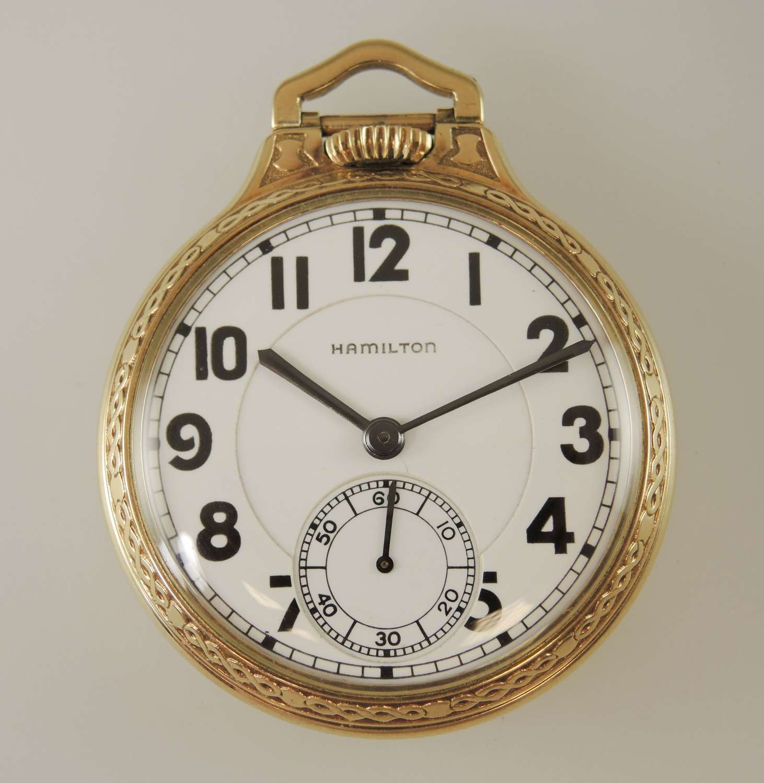 16s 23 Jewel Hamilton 950E Railroad pocket watch c1936