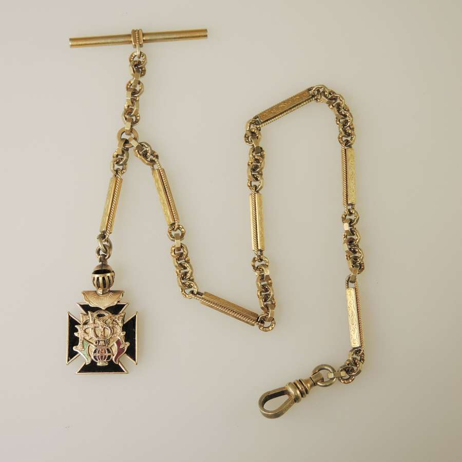 Fancy Gilt Watch chain w/ Brotherhood of RailRoad & Trainmen Fob c1910