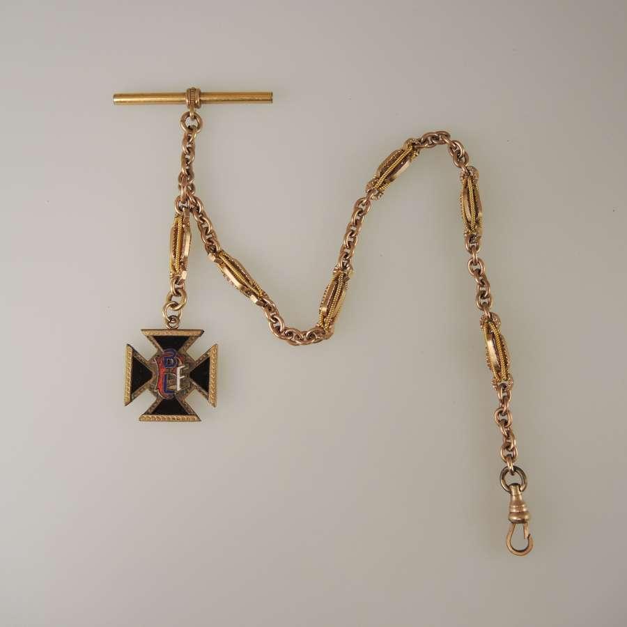 Fancy Gilt Watch chain w/ Brotherhood of RailRoad & Trainmen Fob c1910