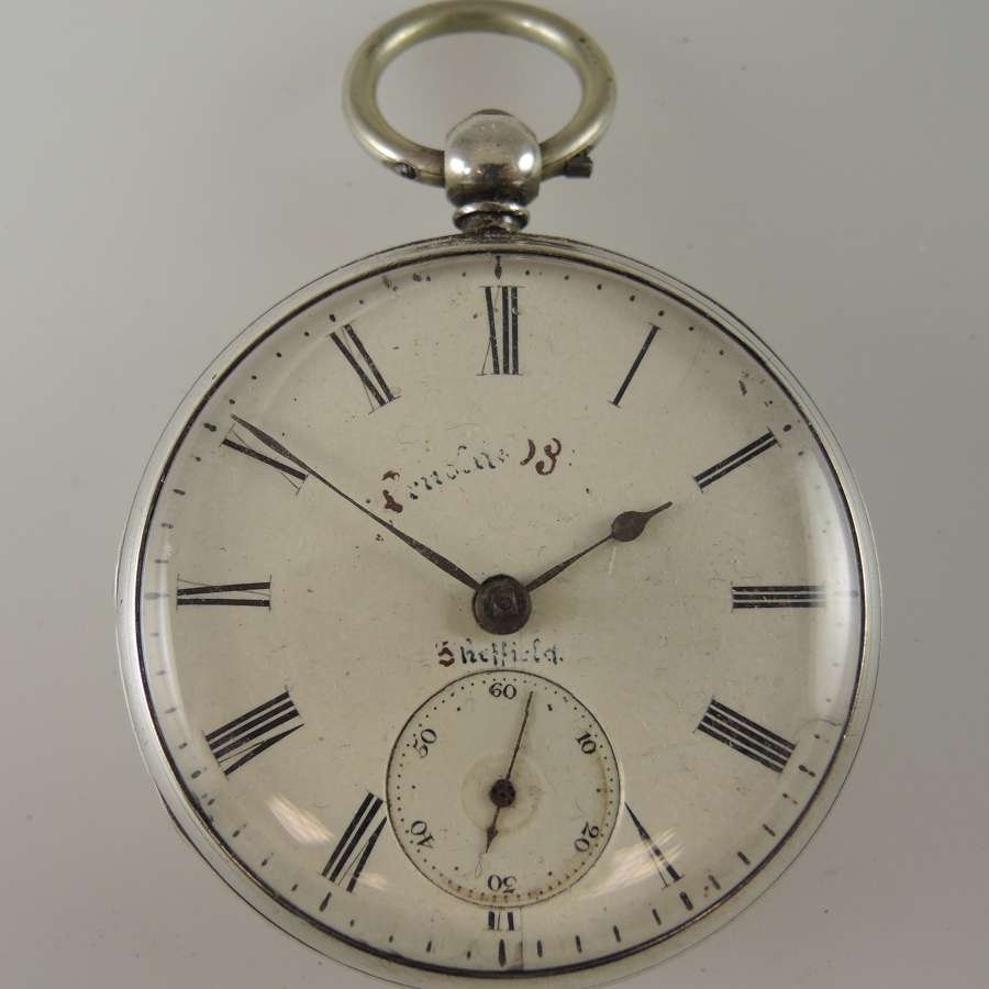 English silver fusee pocket watch by A. Taffinder, Rotherham c1856