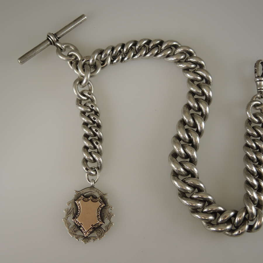 Giant 10 oz English silver watch chain c1904
