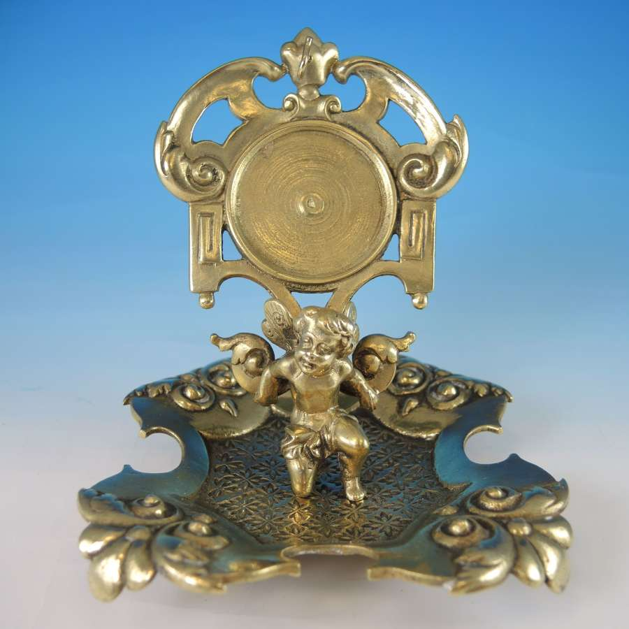Brass CHERUB Watch stand c1880