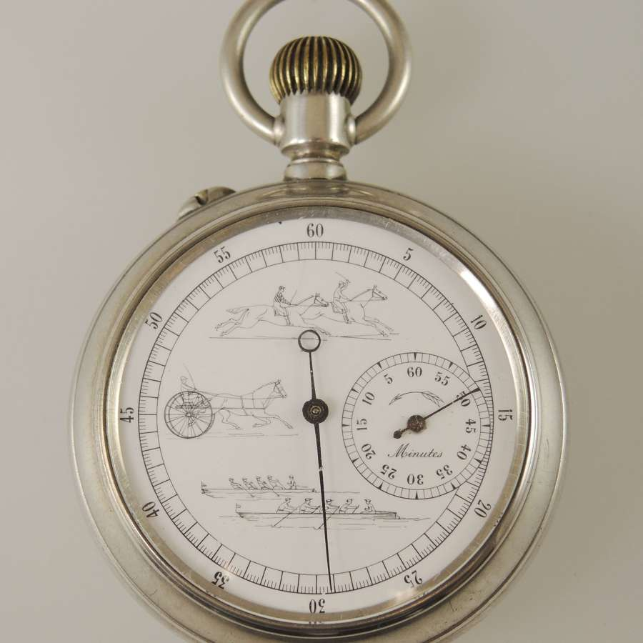 Silver Double side racing Chronograph c1890