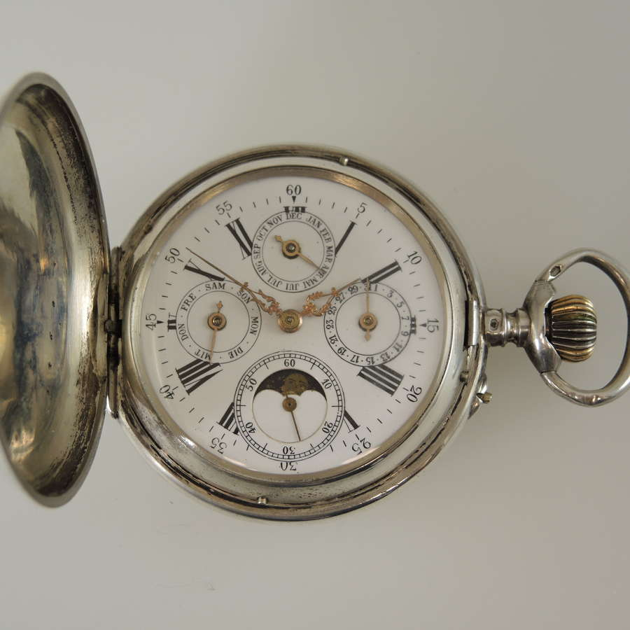 Silver Calendar moonphase hunter pocket watch c1890