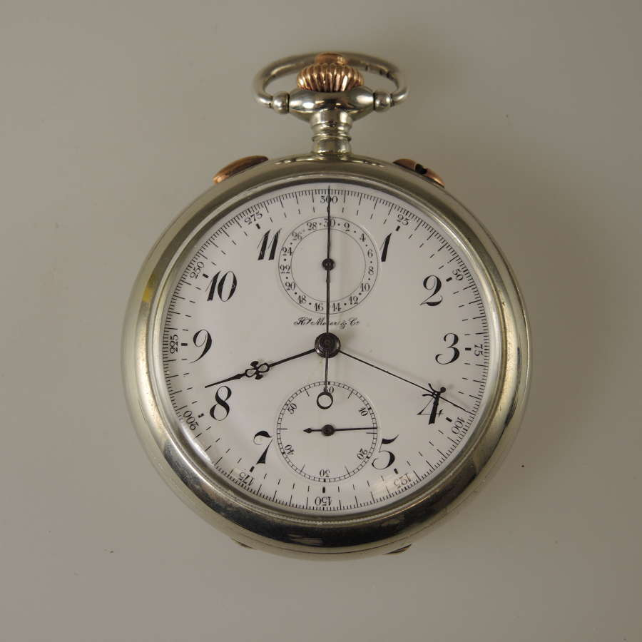 Steel Split seconds Rattrapante pocket watch by Moser c1910