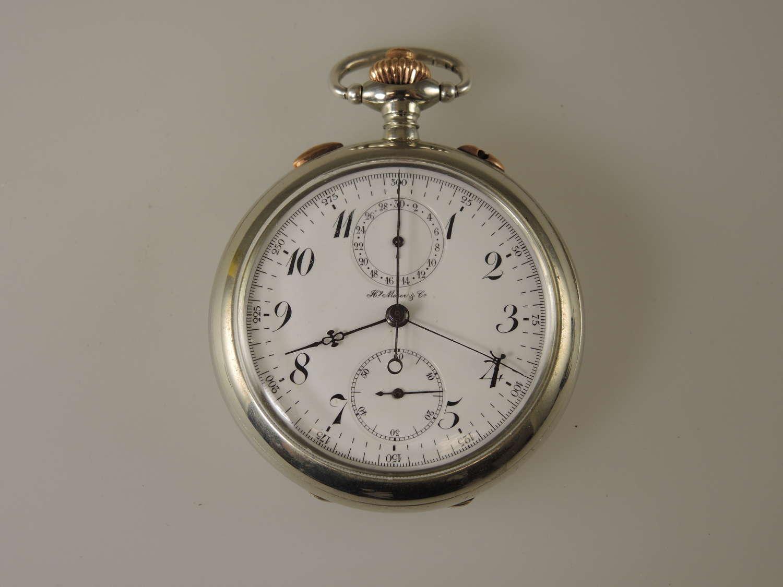 Steel Split seconds Rattrapante pocket watch by Moser c1910