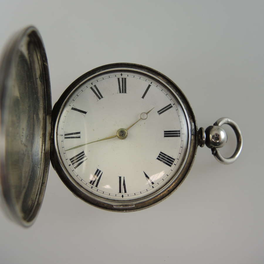 English Silver HUNTER cased VERGE pocket watch c1865
