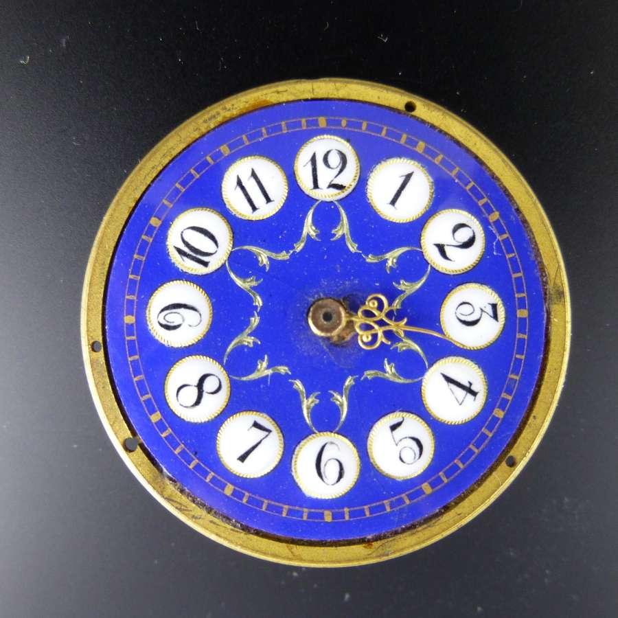 Blue enamel cartouche dial c1880