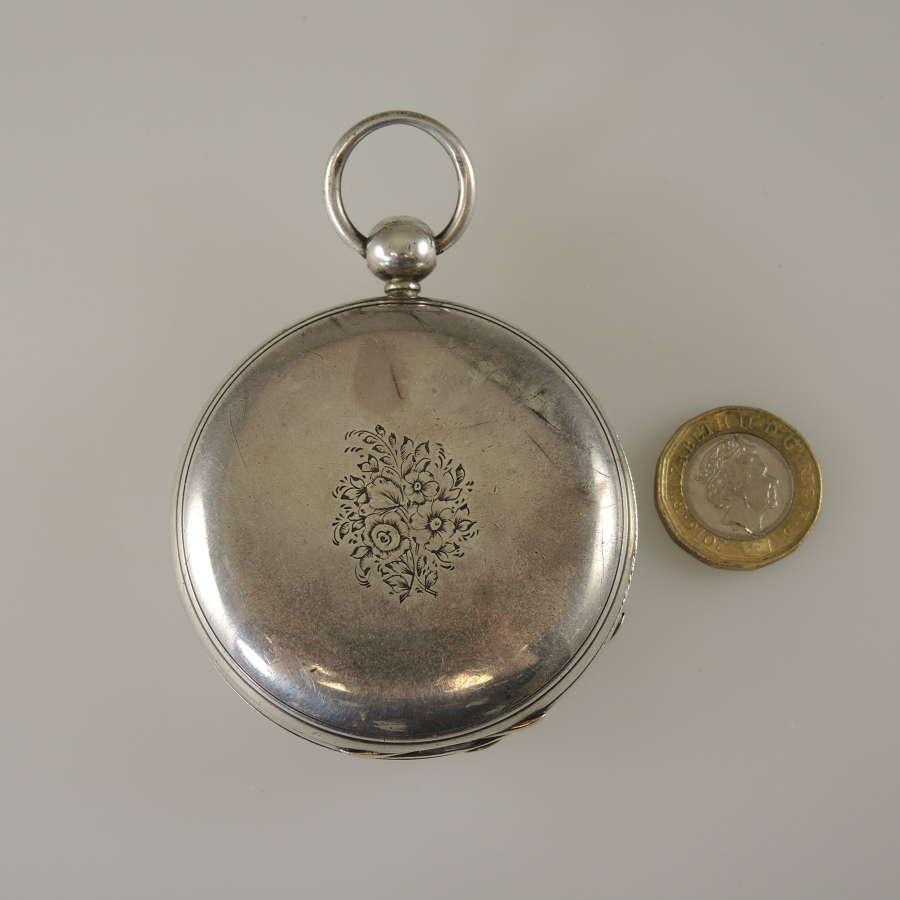 Massive English silver Fusee Hunter KW Case London 1856