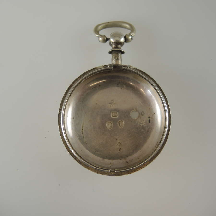 English silver KW fusee inner case Birmingham 1891