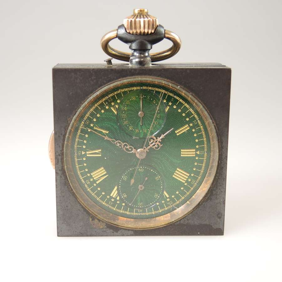 Rare SQUARE Gunmetal REPEATER Chronograph pocket watch c1890