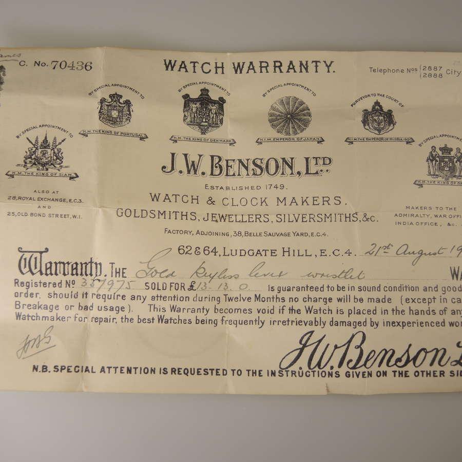 J W Benson Watch Warranty c1924