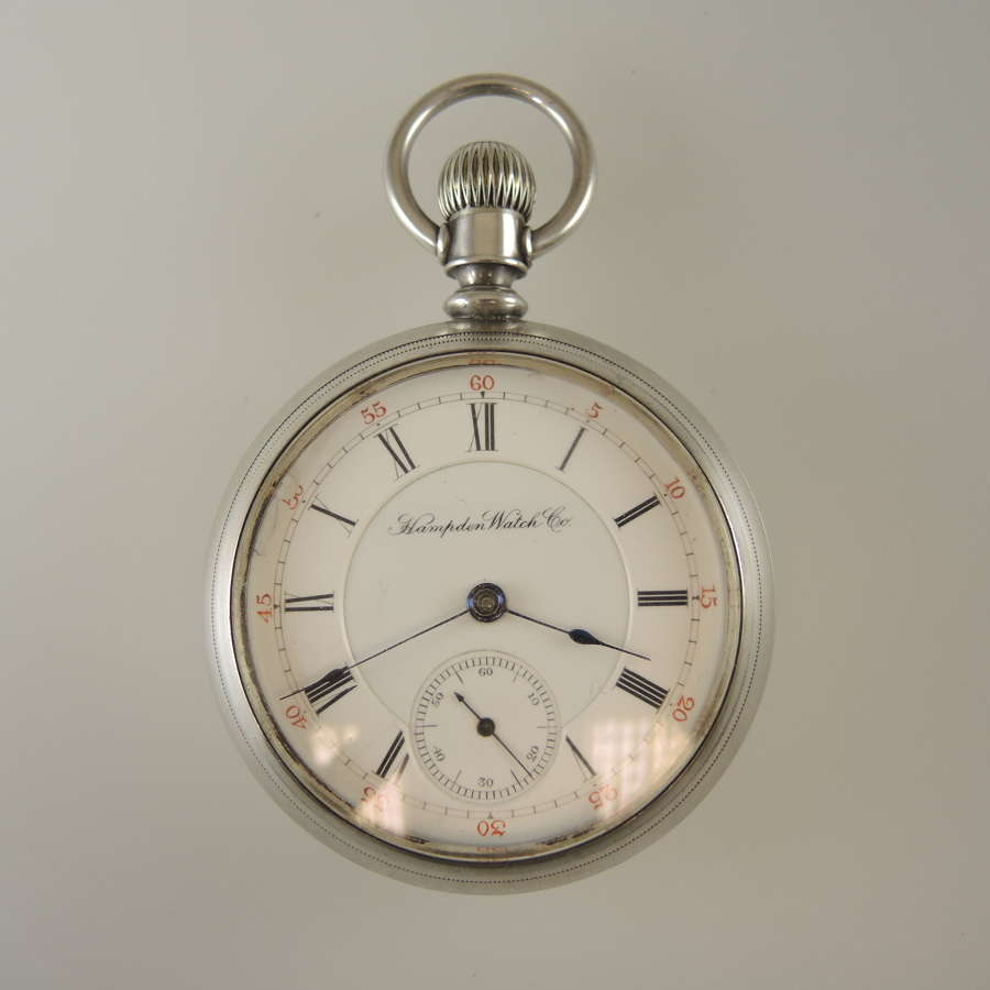 Coin silver 18 size 11 Jewel Hampden pocket watch c1885