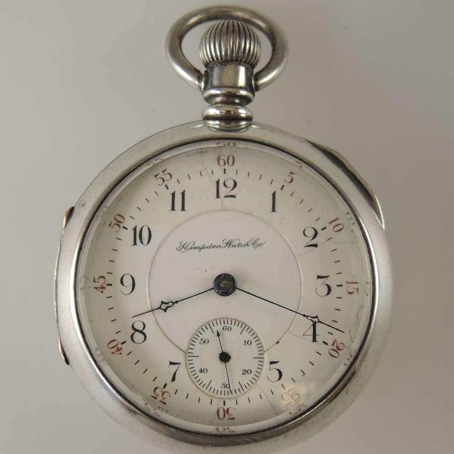Coin silver 18 size 17J Jewel ANCHOR grade Hampden pocket watch c1891